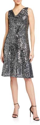 Neiman Marcus Sequined Fringe Elbow-Sleeve Shift Dress