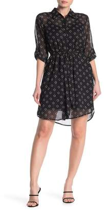 Socialite Printed Waist Tie Shirt Dress
