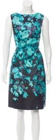 Lela Rose Floral Print Sleeveless Dress