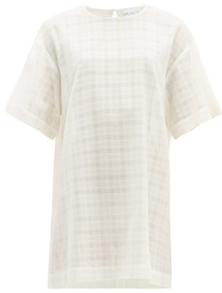 Raey Long-line Crosshatch Woven Top - Ivory