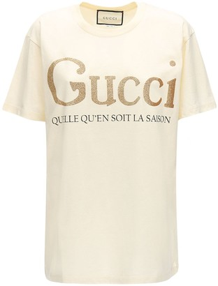 Gucci Glitter Logo Print Jersey T-shirt