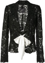 Monique Lhuillier tie-front lace jacket - women - Silk - 4