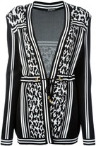 Balmain striped leopard belted cardigan