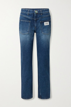 Burberry Appliqued Mid-rise Straight-leg Jeans - Mid denim