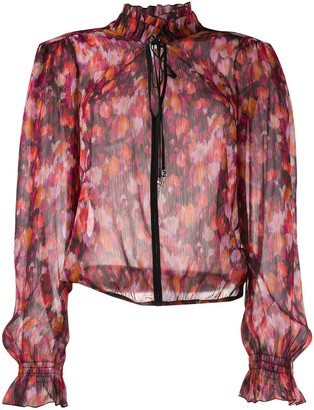 Patrizia Pepe Abstract Floral Print Sheer Blouse