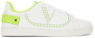 Valentino White and Green Garavani VLogo Backnet Sneakers
