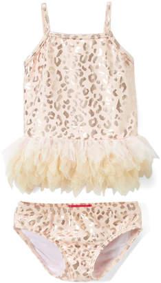 Kate Mack Girls' Bikini Bottoms GOLD - Gold Animal Print Skirted Bikini - Newborn & Infant