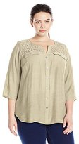 Notations Women's Plus Size 3/4 Sleeve Y Neck Tuwa Blouse with Lace