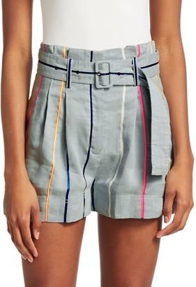 Derek Lam High-Rise Rainbow Stripe Belted Shorts