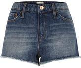 River Island Womens Mid blue wash badge denim hot pants