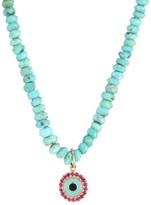 Sydney Evan Small Arizona Turquoise Bead, Ruby & Enamel Evil Eye Charm Necklace