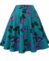 MFrannie Women Vintage Butterfly Print Pleated Knee Length A-Line Midi Skirt L