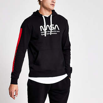 River Island Only and Sons black Nasa print hoodie