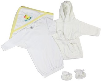 Bambini Neutral Gown, Robe & Blanket Baby Shower Layette Gift Set, 3pc (Baby Boys Or Baby Girls, Unisex)