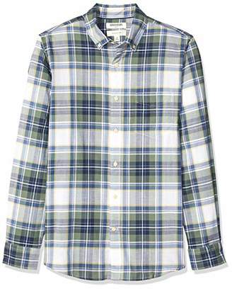 Goodthreads Men's Standard Slim-Fit Long-Sleeve Madras Shirt, Green White Plaid, Large