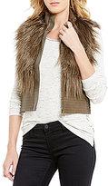 Chelsea & Violet Mandarin Collar Faux-Fur Front Zip Vest