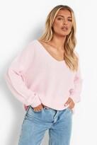 boohoo Sasha Oversized V Neck Jumper pink
