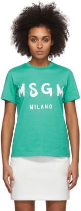 MSGM Green Artist Logo T-Shirt