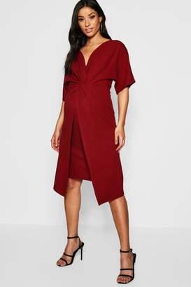 boohoo Maternity Twist Front Kimono Sleeve Midi Dress