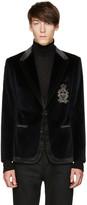 Dolce & Gabbana Blue Velvet Crest Blazer