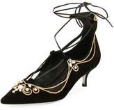 Rene Caovilla Suede Embellished Lace-Up Pump, Black