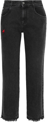 Stella McCartney Cropped Frayed Embroidered Mid-rise Straight-leg Jeans