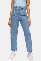Topshop Mid Blue Pleat Dad Jeans