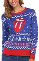 Asatr Women Crew Neck Long Sleeve Christmas Print Casual Pullover Sweater