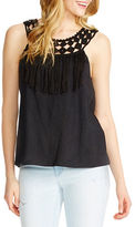 Jessica Simpson Tae Braided-Neck Fringe-Trim Tank Top
