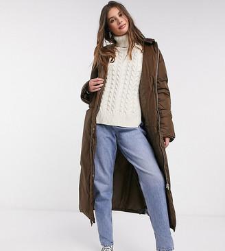 Asos Tall ASOS DESIGN Tall high collar puffer coat in brown