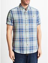 John Lewis Double Face Check Short Sleeve Shirt, Blue