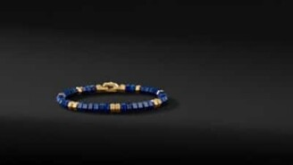 David Yurman Hex Spiritual Bead Bracelet With Lapis And 18K Yellow