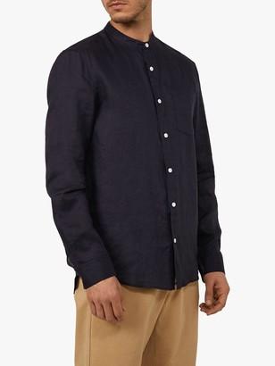 Warehouse Linen Grandad Collar Shirt