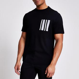 River Island Black herringbone pocket T-shirt