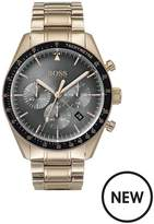 BOSS Boss Trophy Grey, Rose Gold And Black Detail Chronograph Dial Rose Gold Plated Stainless Steel Bracelet Mens Watch