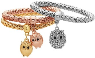 Peermont Jewelry Gold Plated Tri-Gold Owl Charm Bracelet 3pcs Set