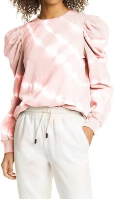 Nicole Miller Tie Dye Puff Sleeve Sweatshirt
