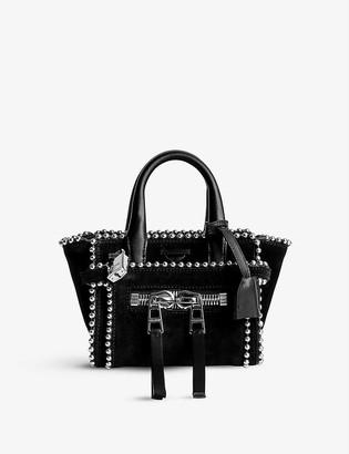 Zadig & Voltaire Candide Nano stud-embellished suede tote bag