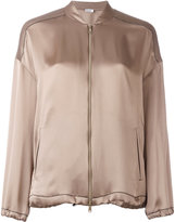 Brunello Cucinelli zipped bomber jacket - women - Silk/Acetate/Viscose/Brass - S