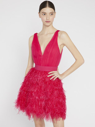 Alice + Olivia Tegan Feather Party Mini Dress