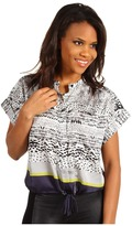 Kenneth Cole New York Printed Blouse Women's Short Sleeve Button U