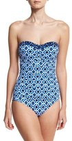 Tommy Bahama Shibori Shirred Bandeau One-Piece Swimsuit, Blue
