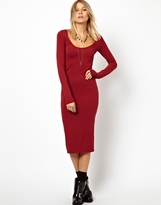 Asos Midi Body-Conscious Dress With Long Sleeves - Red