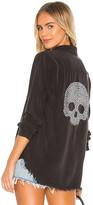 Lauren Moshi Sloane Nailhead Skull Button Up Denim Shirt