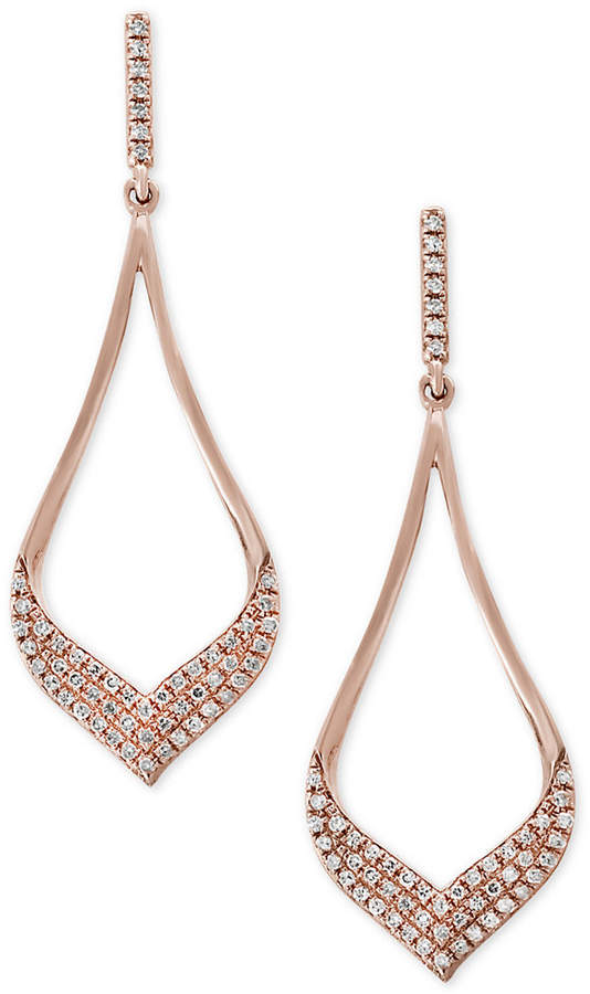 Effy Pave Rose by Diamond Drop Earrings (1/3 ct. t.w.) in 14k Rose Gold