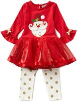 Rare Editions Little Girls 2T-6X Christmas Santa Face Tutu Dress & Dotted Leggings Set