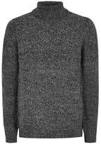 Topman Mens Grey Gray Salt And Pepper Twist Turtle Neck Sweater