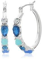 "Nine West Jewel Azure"" Silver-Tone/Blue Multi-Hoop Earrings"