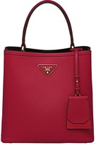 Prada Double logo plaque tote