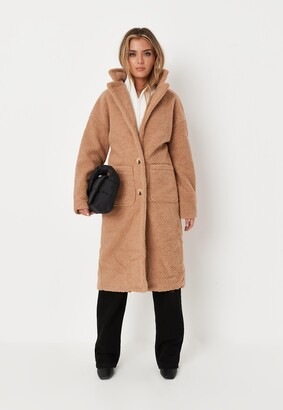Missguided Petite Brown Borg Teddy Patch Pocket Coat